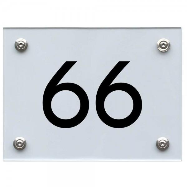 Hausnummernschild 66 schwarz
