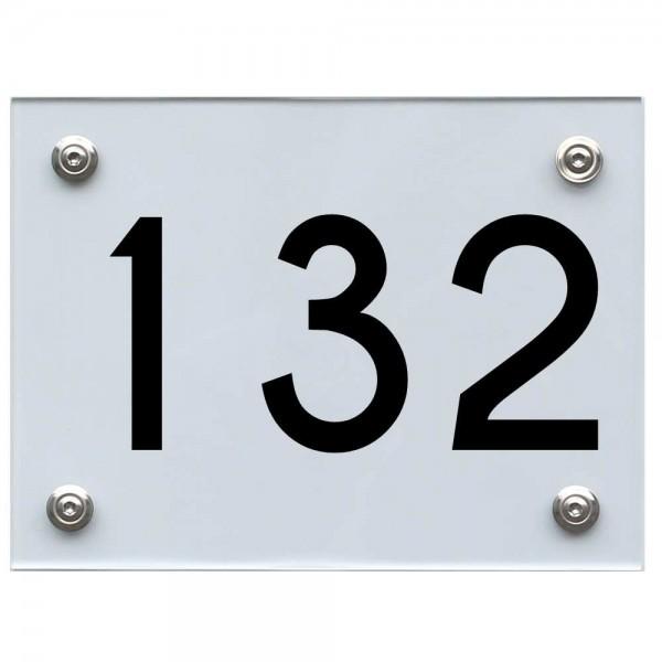 Hausnummernschild 132 schwarz