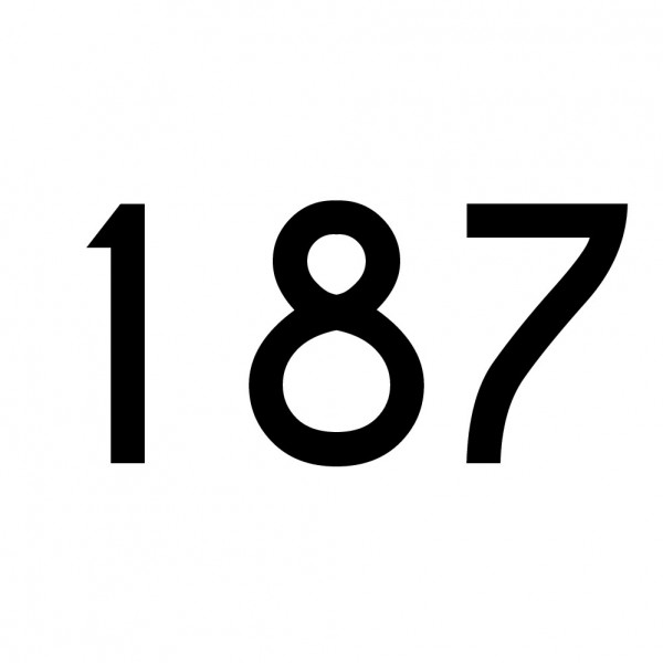 Hausnummer Aufkleber 187 schwarz
