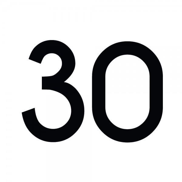 Zahlenaufkleber 30 schwarz