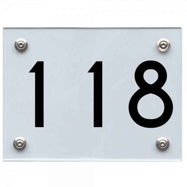 Hausnummernschild 118 schwarz