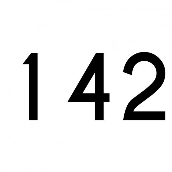 Hausnummer Aufkleber 142 schwarz