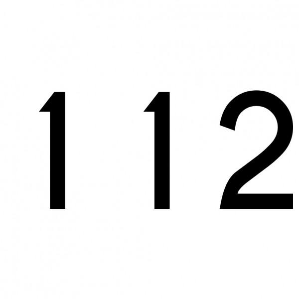 Hausnummer Aufkleber 112 schwarz