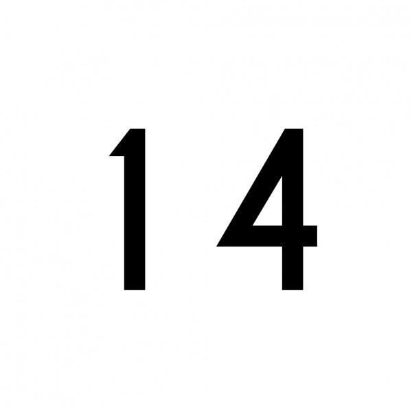 Hausnummer Aufkleber 14 schwarz
