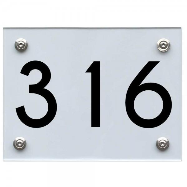 Hausnummernschild 316 schwarz