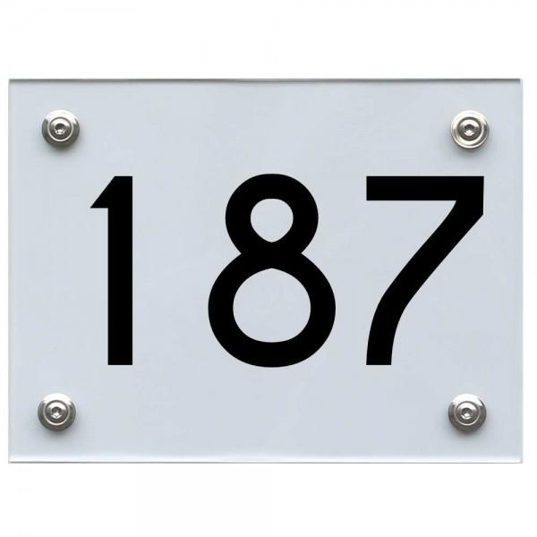 Hausnummernschild 187 schwarz