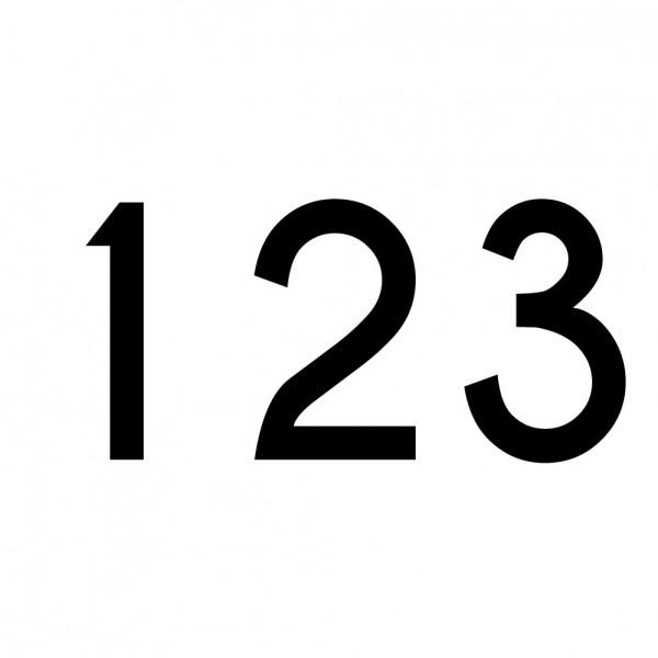 Hausnummer Aufkleber 123 schwarz