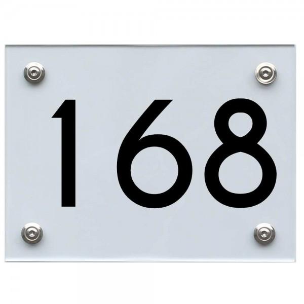 Hausnummernschild 168 schwarz