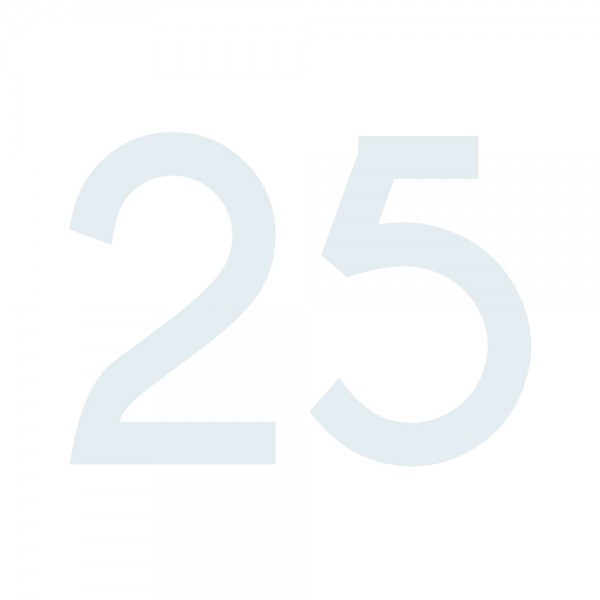 Zahlenaufkleber 25 weiß