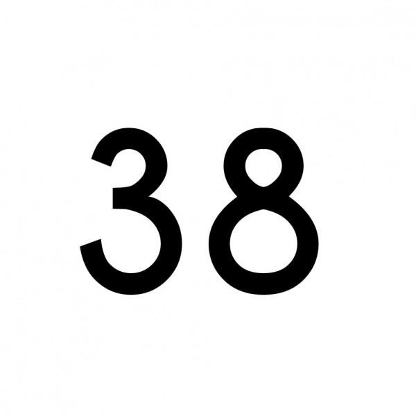 Hausnummer Aufkleber 38 schwarz