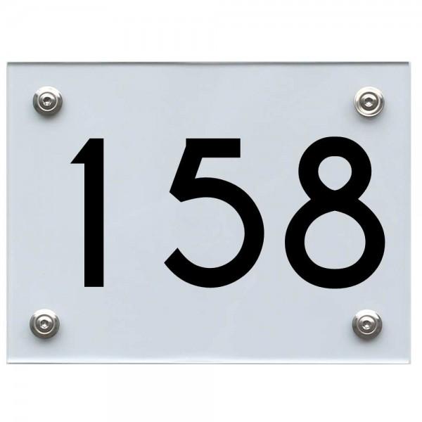 Hausnummernschild 158 schwarz