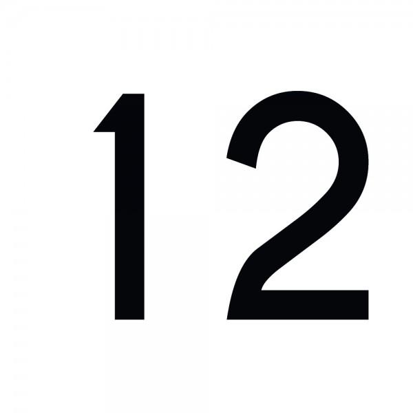 Zahlenaufkleber 12 schwarz