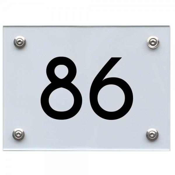 Hausnummernschild 86 schwarz