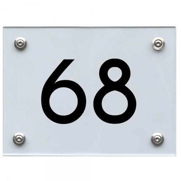 Hausnummernschild 68 schwarz