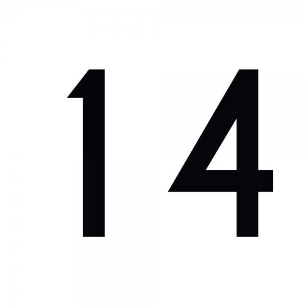 Zahlenaufkleber 14 schwarz