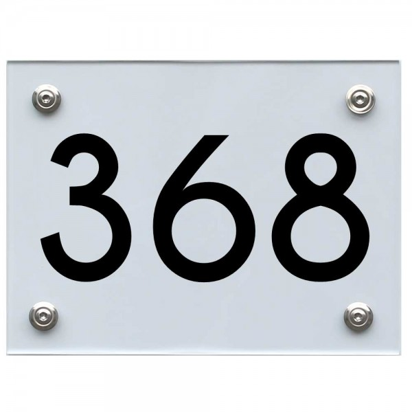 Hausnummernschild 368 schwarz