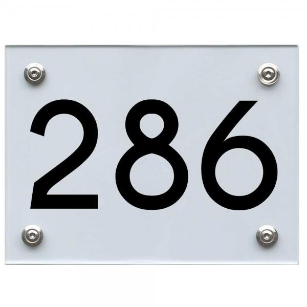 Hausnummernschild 286 schwarz