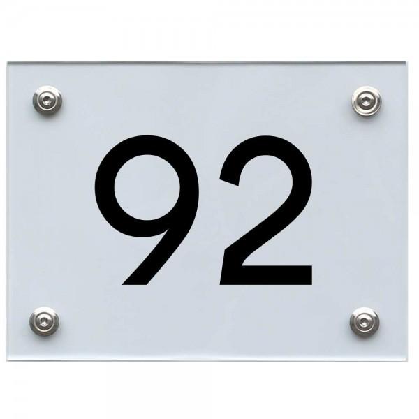 Hausnummernschild 92 schwarz