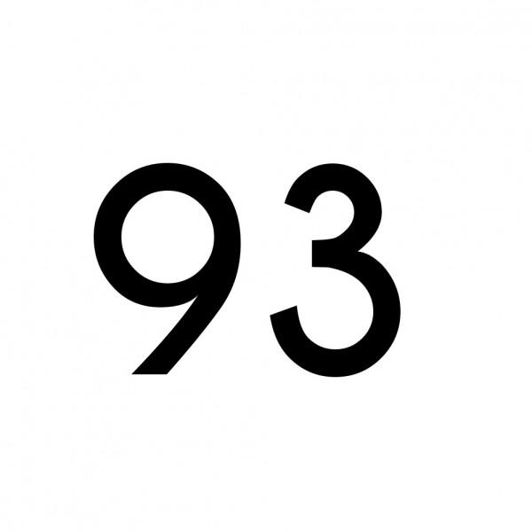 Hausnummer Aufkleber 93 schwarz
