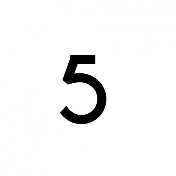 Hausnummer Aufkleber 5 schwarz