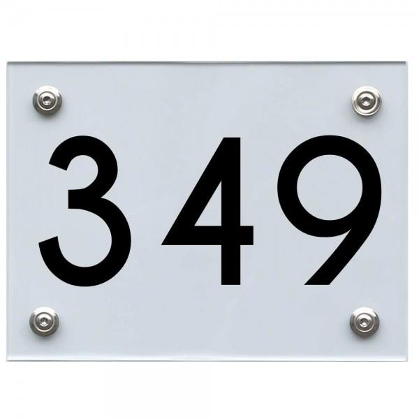 Hausnummernschild 349 schwarz