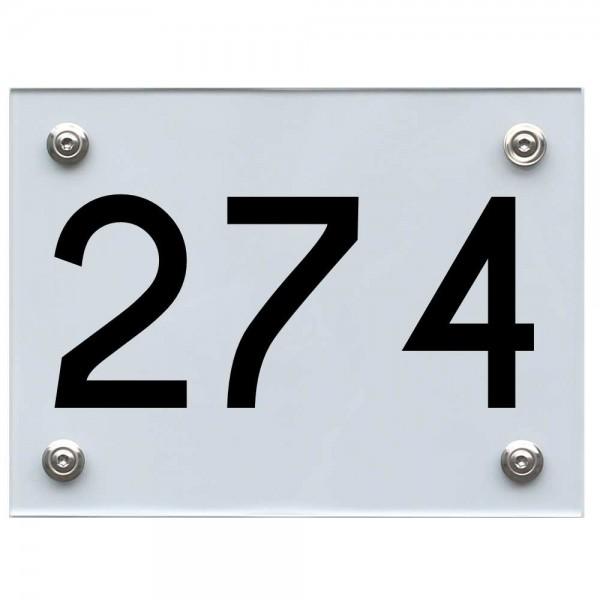 Hausnummernschild 274 schwarz