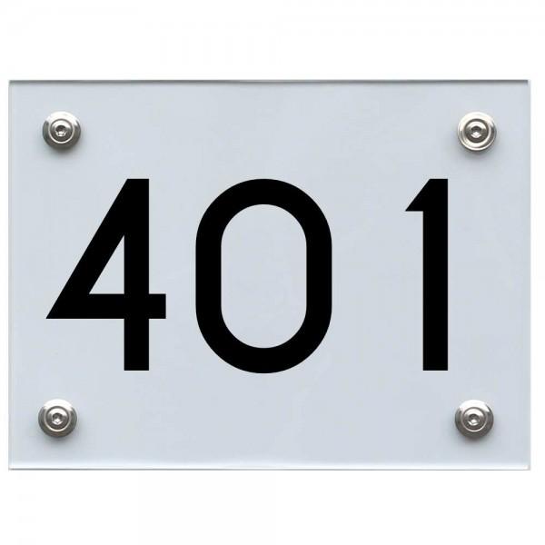 Hausnummernschild 401 schwarz