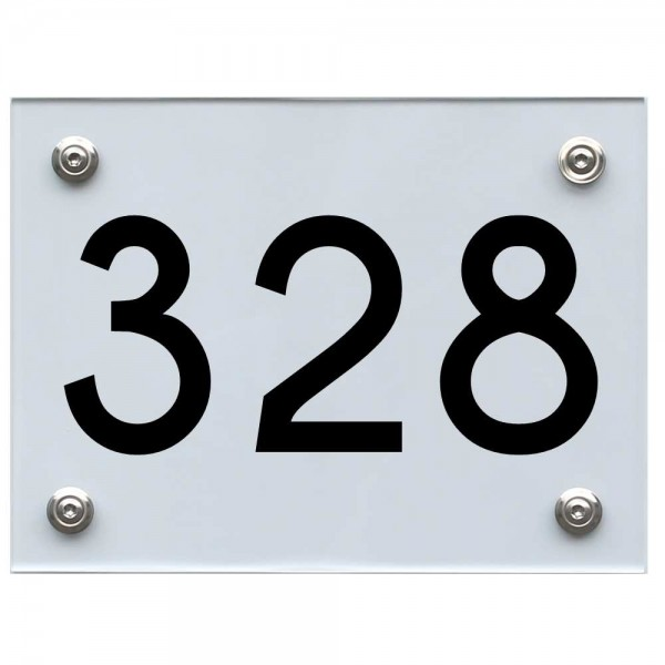 Hausnummernschild 328 schwarz