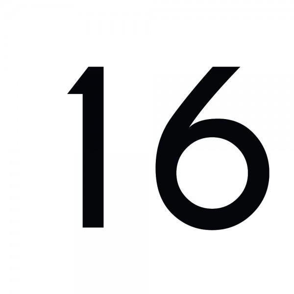 Zahlenaufkleber 16 schwarz