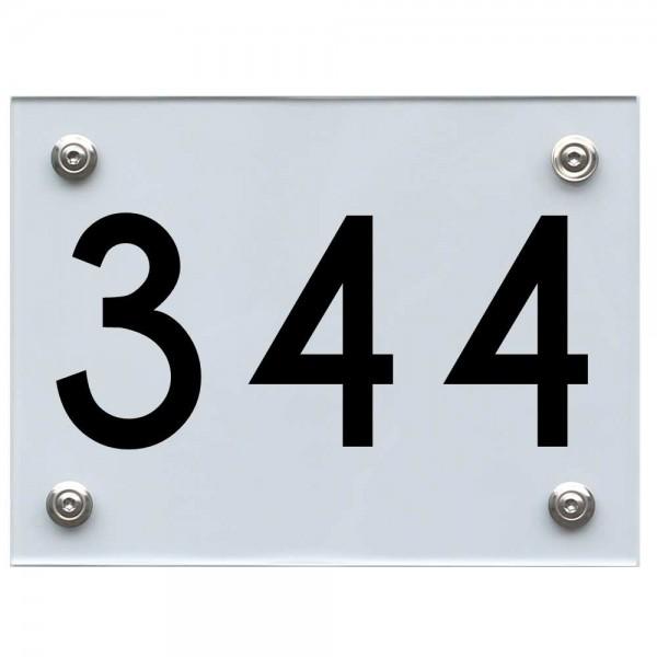 Hausnummernschild 344 schwarz