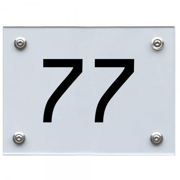 Hausnummernschild 77 schwarz