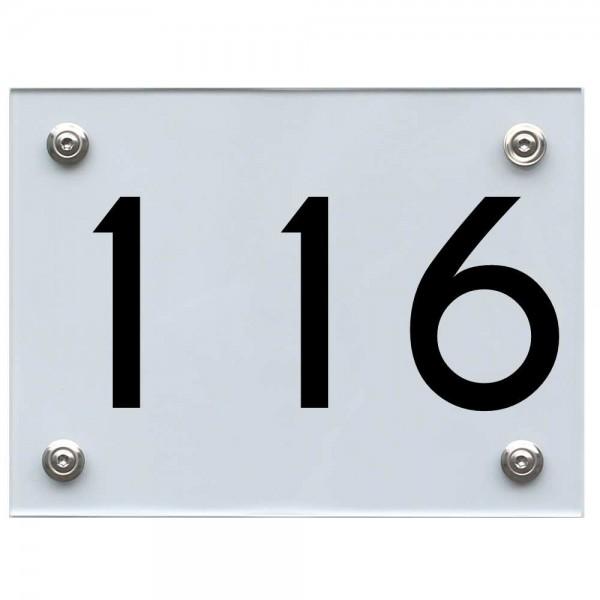 Hausnummernschild 116 schwarz