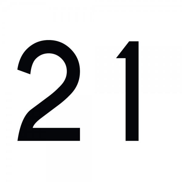 Zahlenaufkleber 21 schwarz