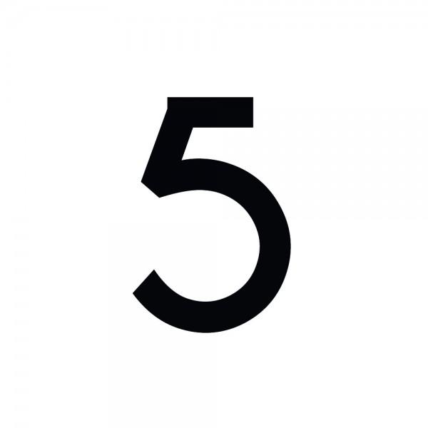 Zahlenaufkleber 5 schwarz