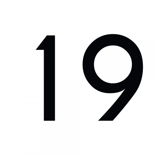 Zahlenaufkleber 19 schwarz