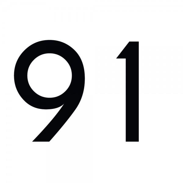 Zahlenaufkleber 91 schwarz