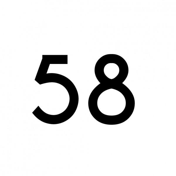Hausnummer Aufkleber 58 schwarz
