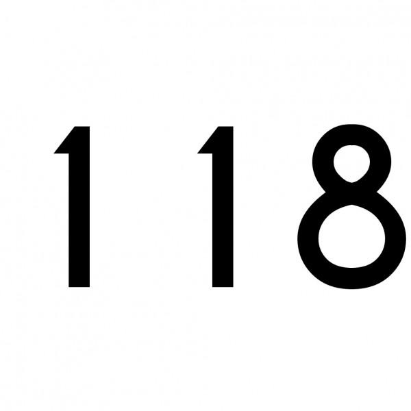 Hausnummer Aufkleber 118 schwarz