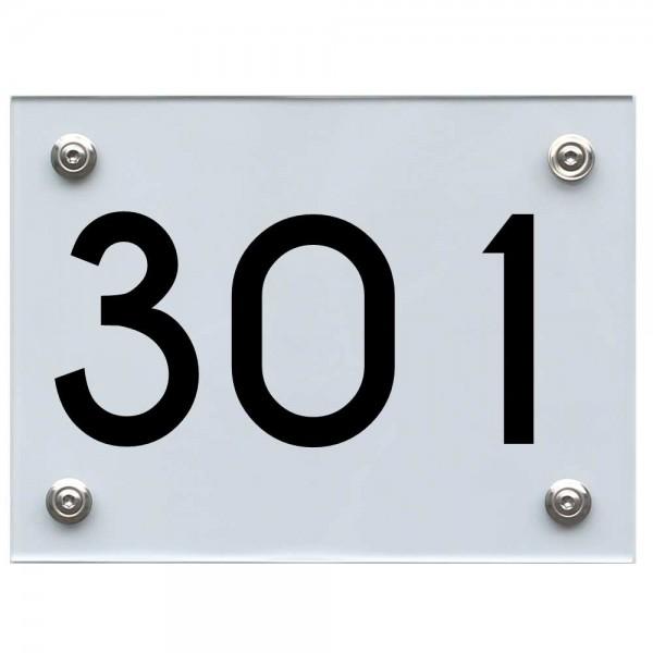 Hausnummernschild 301 schwarz