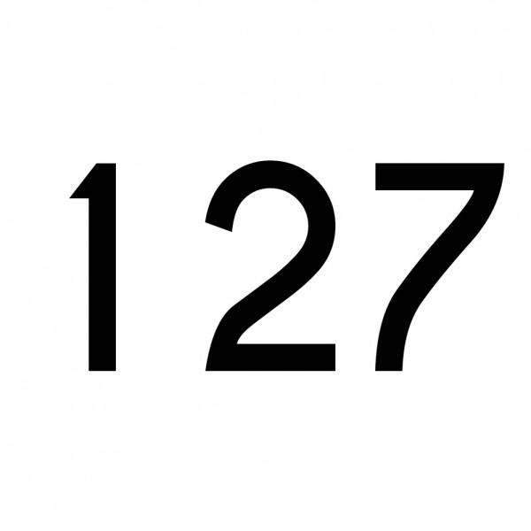 Hausnummer Aufkleber 127 schwarz