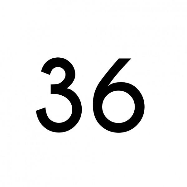 Hausnummer Aufkleber 36 schwarz