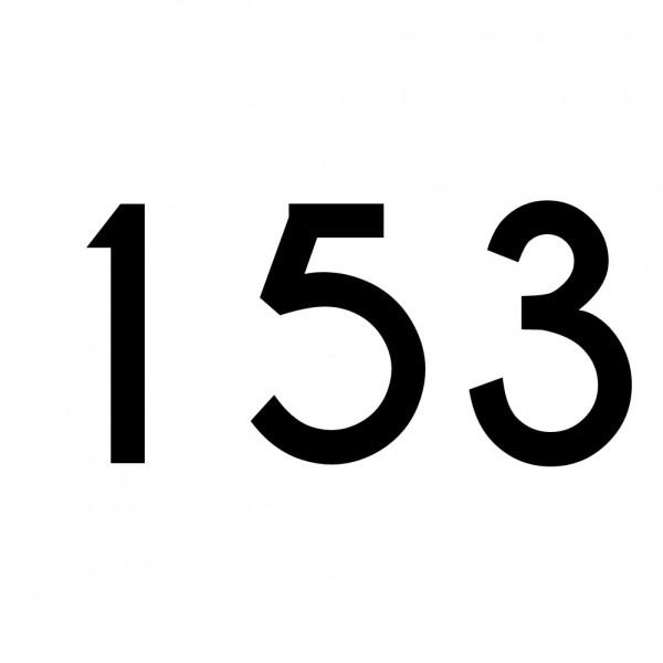 Hausnummer Aufkleber 153 schwarz