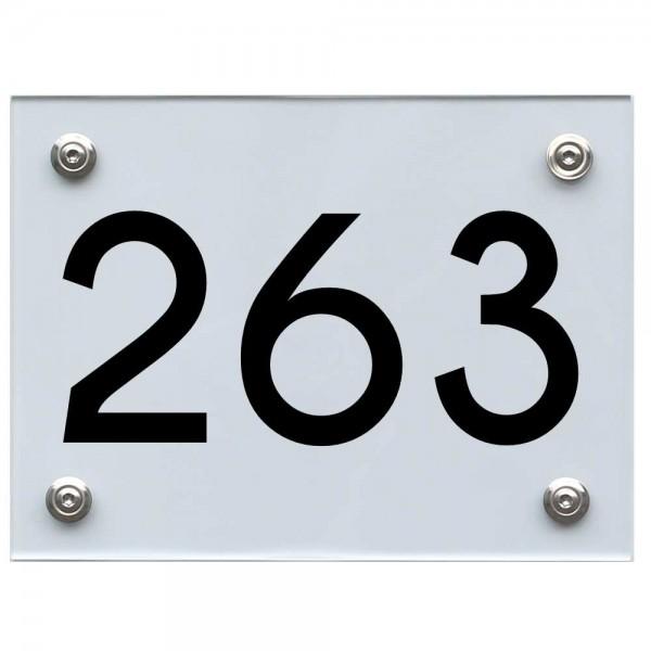 Hausnummernschild 263 schwarz