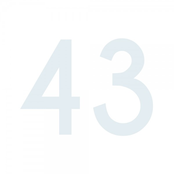 Zahlenaufkleber 43 weiß