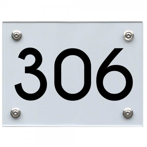 Hausnummernschild 306 schwarz