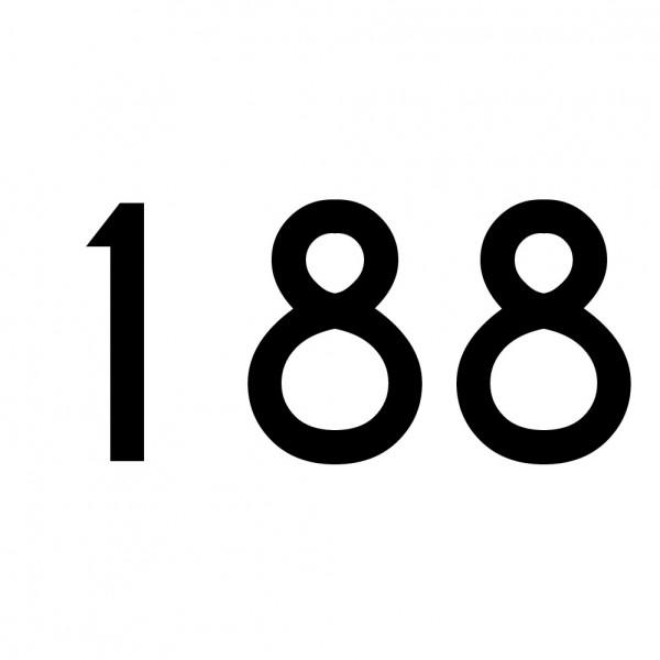 Hausnummer Aufkleber 188 schwarz