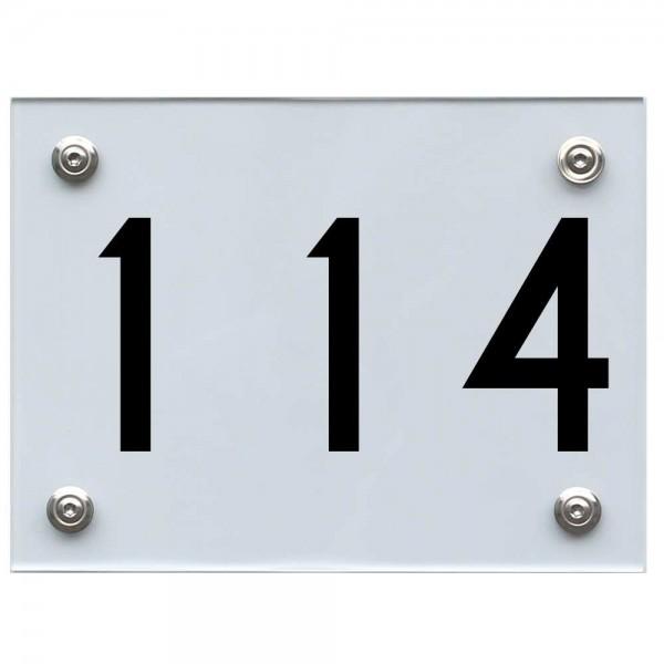 Hausnummernschild 114 schwarz