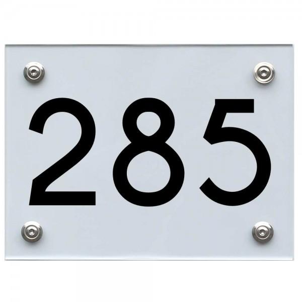 Hausnummernschild 285 schwarz