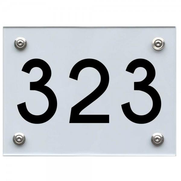 Hausnummernschild 323 schwarz