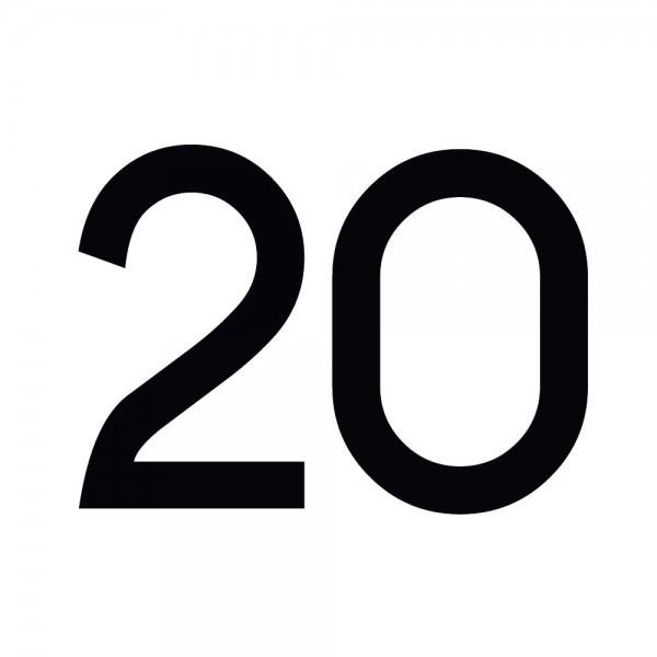 Zahlenaufkleber 20 schwarz